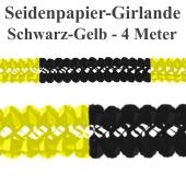 Seidenpapier-Girlande Schwarz-Gelb, 4 Meter