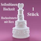 Seifenblasen Hochzeit, Wedding Bubbles Hochzeitstorte mit Herz weiß, 1 Stück