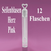 Seifenblasen Hochzeit, Wedding Bubbles Herz pink, 12 Stück