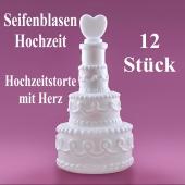 Seifenblasen Hochzeit, Wedding Bubbles Hochzeitstorte mit Herz weiß, 12 Stück