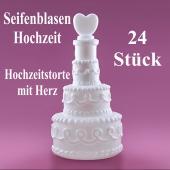 Seifenblasen Hochzeit, Wedding Bubbles Hochzeitstorte mit Herz weiß, 24 Stück