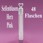 Seifenblasen Hochzeit, Wedding Bubbles Herz pink, 48 Stück