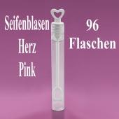 Seifenblasen Hochzeit, Wedding Bubbles Herz pink, 96 Stück