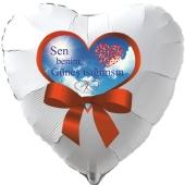 Herzluftballon in Weiß Sen benim Güneş ιşιğιmsιn