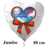 Großer Herzluftballon in Weiß Sen benim Güneş ιşιğιmsιn