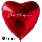 """Herzluftballon in Rot """"Seni Seviyorum"""" 80 cm groß"""