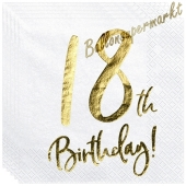 Servietten 18th Birthday Gold, zum 18. Geburtstag