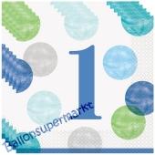 1st Birthday Blue Dots, 16 Servietten zum 1. Kindergeburtstag