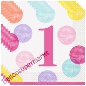 1st Birthday Pink Dots, 16 Servietten zum 1. Kindergeburtstag