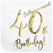 Servietten 40th Birthday Gold, zum 40. Geburtstag