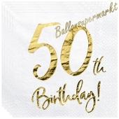 Servietten 50th Birthday Gold, zum 50. Geburtstag