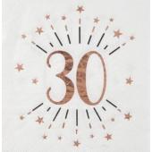 Servietten Rosegold Sparkling 30 zum 30. Geburtstag, 10 Stück