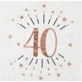 Servietten Rosegold Sparkling zum 40. Geburtstag, 10 Stück