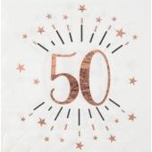 Servietten Rosegold Sparkling 50 zum 50. Geburtstag, 10 Stück