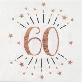 10 Servietten zum 60. Geburtstag Roségold Metallic
