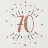 10 Servietten zum 70. Geburtstag in Roségold Metallic