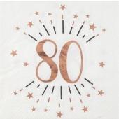 10 Servietten zum 80. Geburtstag in Blush und Roségold Metallic