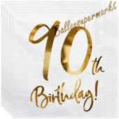Servietten 90th Birthday Gold, zum 90. Geburtstag