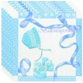 Servietten Geburt, Taufe, Babyparty Junge, Baby Shower, blau