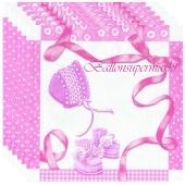 Servietten Geburt, Taufe, Babyparty Mädchen, Baby Shower, rosa