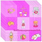 Servietten Geburt, Taufe, Babyparty Mädchen, Babies Toys, rosa