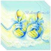 Servietten Geburt, Taufe, Babyparty Junge, Babyschühchen, blau