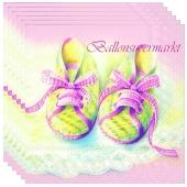 Servietten Geburt, Taufe, Babyparty Mädchen, Babyschühchen, rosa