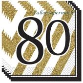 Servietten Black and Gold 80, zum 80. Geburtstag