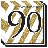 Servietten Black and Gold 90, zum 90. Geburtstag