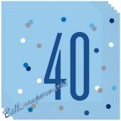 Servietten Blue & Silver Glitz 40 zum 40. Geburtstag