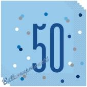 Servietten Blue & Silver Glitz 50 zum 50. Geburtstag