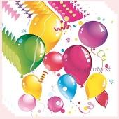 Servietten Kindergeburtstag, bunte Luftballons, Papierservietten 20 Stück, 3-lagig