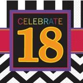 Servietten Zahl 18, zum 18. Geburtstag