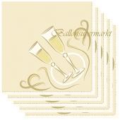 Silvesterdeko Servietten, Chin-chin, gold, Sektgläser, 20 Stück, 40x40 cm