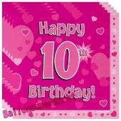 16 Servietten zum 10. Kindergeburtstag, Happy 10th Birthday Pink, Mädchen