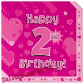 16 Servietten zum 2. Kindergeburtstag, Happy 2nd Birthday Pink, Mädchen