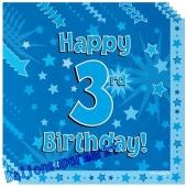 16 Servietten zum 3. Kindergeburtstag, Happy 3rd Birthday Blau, Junge