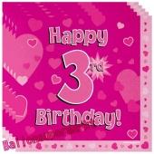 16 Servietten zum 3. Kindergeburtstag, Happy 3rd Birthday Pink, Mädchen