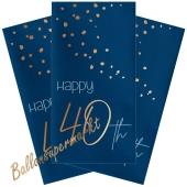 Servietten Elegant True Blue 40 zum 40. Geburtstag, 10 Stück