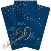 Servietten Elegant True Blue 50 zum 50. Geburtstag, 10 Stück