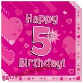 16 Servietten zum 5. Kindergeburtstag, Happy 5th Birthday Pink, Mädchen