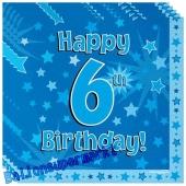 16 Servietten zum 6. Kindergeburtstag, Happy 6th Birthday Blau, Junge