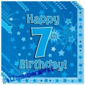 16 Servietten zum 7. Kindergeburtstag, Happy 7th Birthday Blau, Junge