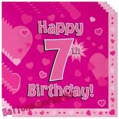 16 Servietten zum 7. Kindergeburtstag, Happy 7th Birthday Pink, Mädchen