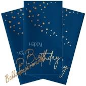 Happy Birthday Servietten Elegant True Blue zum Geburtstag, 10 Stück