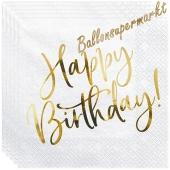 Geburtstagsservietten Golden Sparkle Birthday, 20 Stück