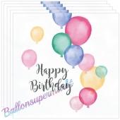 Geburtstagsservietten Happy Birthday Pastel, 20 Stück