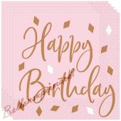 Happy Birthday Servietten Rose Gold zum Geburtstag, 16 Stück