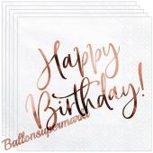Geburtstagsservietten Happy Birthday Roségold, 20 Stück