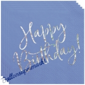 Geburtstagsservietten Happy Birthday Blau Glitter